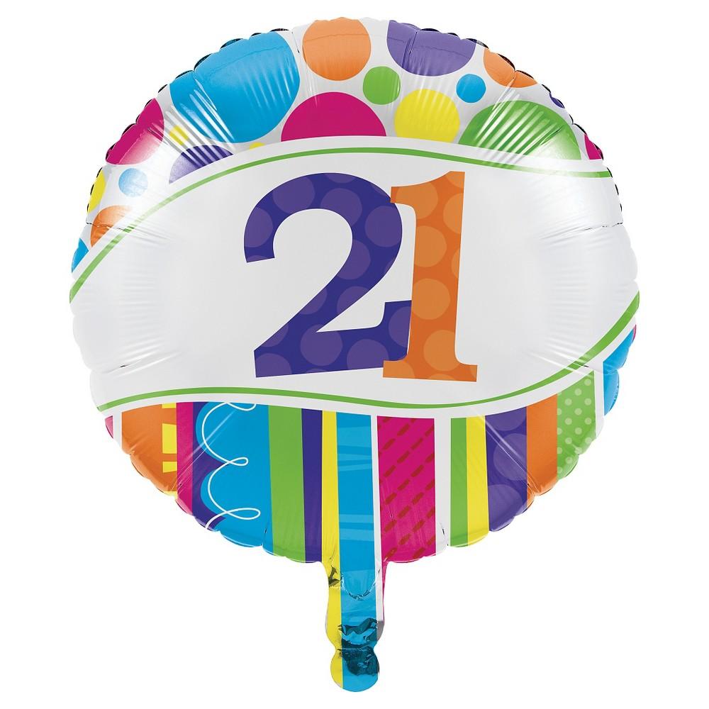 Bright And Bold 21st Birthday Mylar Balloon