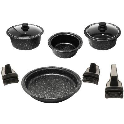 Westinghouse 9 Pc Detachable Handle Marble Finish Cookware Set Black Marble Series