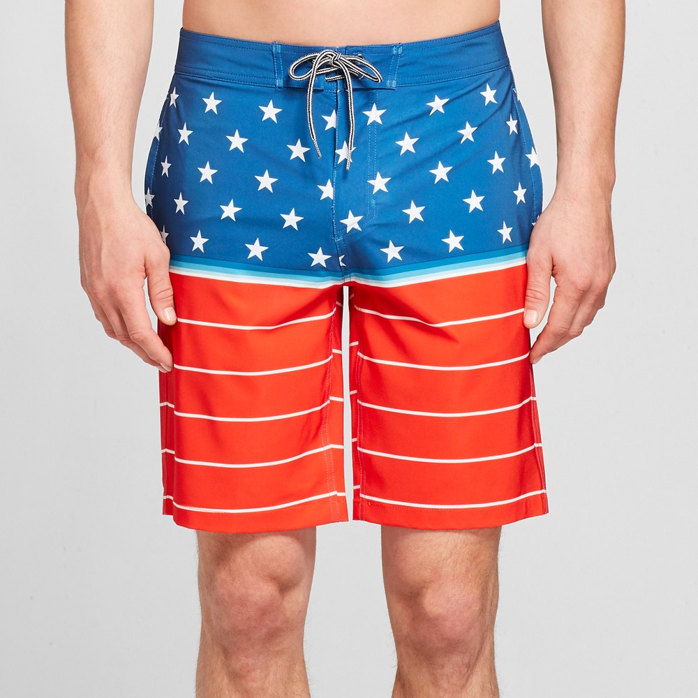 Men's Striped 10 Biscayne Boardshorts - Goodfellow & Co Red Spark 32