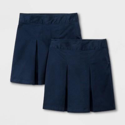 Girls' 2pk Stretch Uniform Pleated Twill Skorts - Cat & Jack™ Blue