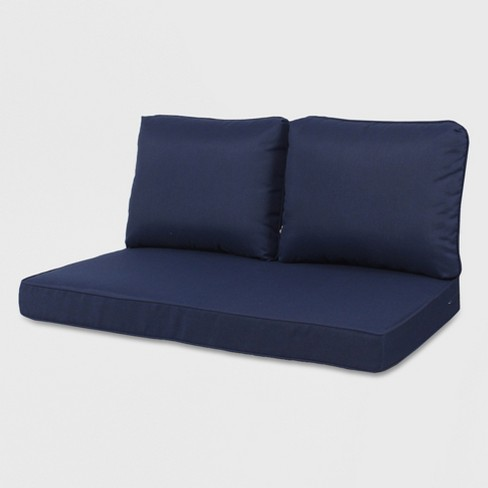 Sensational Rolston 3Pc Outdoor Loveseat Cushion Navy Grand Basket Creativecarmelina Interior Chair Design Creativecarmelinacom