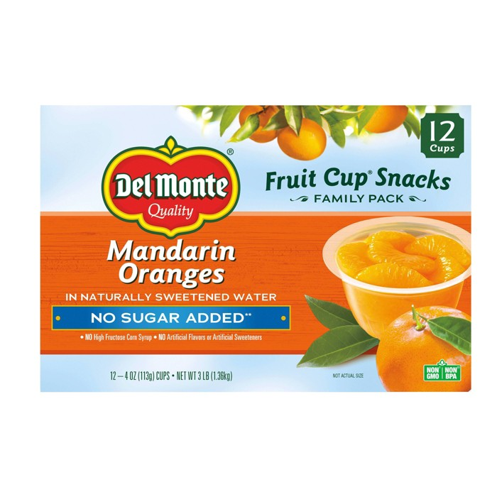 Del Monte Mandarin Oranges Fruit Cup Snacks - 48oz 12ct - image 1 of 1