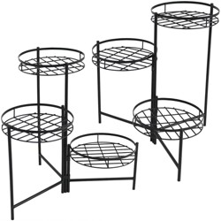 "22"" Iron Black 3-Tiered Plant Stand - Set of 2 - Black - Sunnydaze Decor"