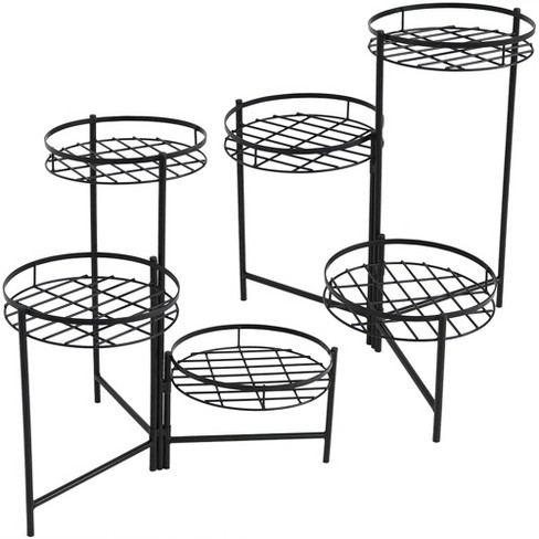 "22"" Iron Black 3-Tiered Plant Stand - Set of 2 - Black - Sunnydaze Decor - image 1 of 4"