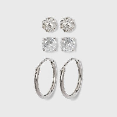 Women's Sterling Silver  Crystal Fireball Stud Earrings and Endless Hoop Earring Set 3pc - A New Day™ Silver/Clear