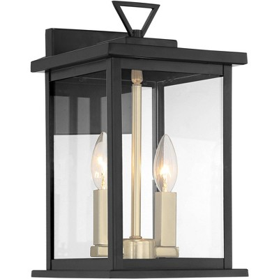 """Possini Euro Design Modern Outdoor Wall Light Fixture Black Gold 14"""" Clear Glass for Exterior House Porch Patio Deck"""