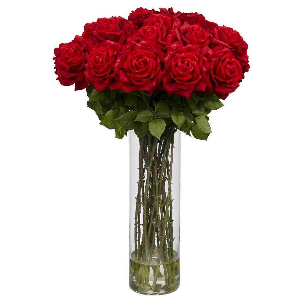 Nearly Natural Giant Rose Silk Flower Arrangement, Red