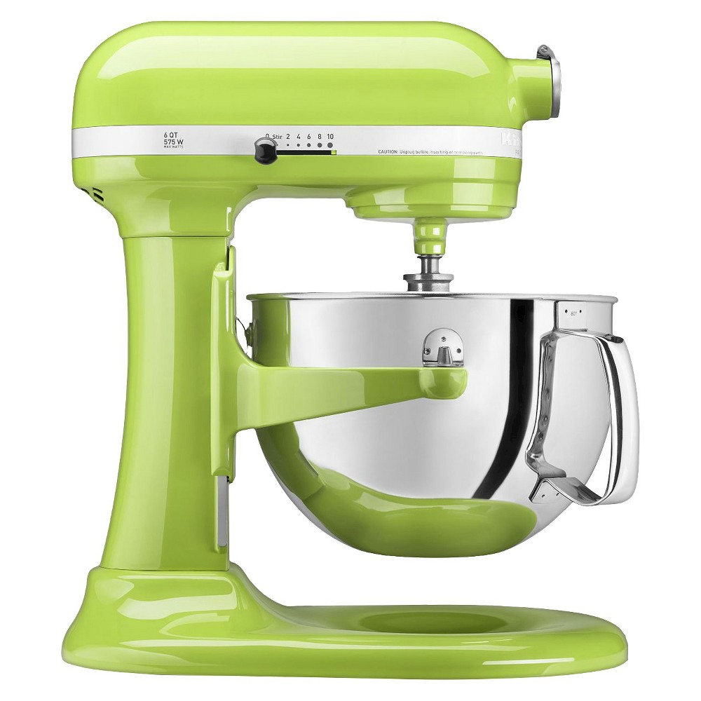 KitchenAid Professional 600 Series 6-Quart Bowl-Lift Stand Mixer - KP26M1X, Green Apple The KitchenAid Professional 600 Series 6 Quart Bowl-Lift Stand Mixer is perfect for heavy, dense mixtures. It also offers the capacity to make up to 13 dozen cookies in a single batch and 10 speeds to thoroughly mix, knead and whip ingredients quickly and easily. For even more versatility, use the power hub to turn your stand mixer into a culinary center with over 10 optional hub powered attachments, from food grinders to pasta makers and more. Color: Green Apple.