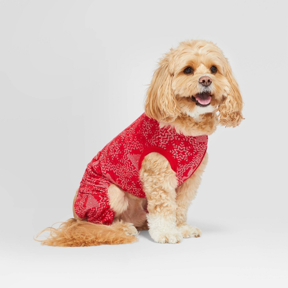 Image of Pet Holiday Pajamas Red Snowflake - Hearth & Hand with Magnolia XS