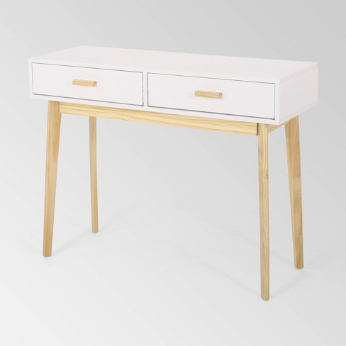 Pickford Mid Century Modern 2 Drawer Console Table Matte White Christopher Knight Home Target - Modern White Console Table With Storage