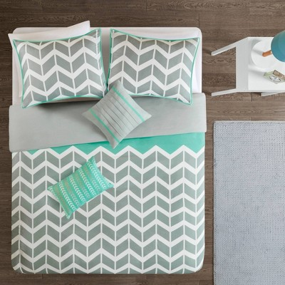 Teal Chevron Darcy Duvet Cover Set (Full/Queen)- 5pc