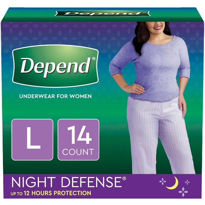Depend Night Defense Incontinence Underwear for Women - Large - image 1 of 6
