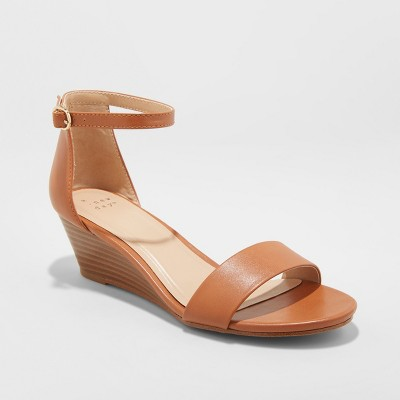 Women's Wilda Strappy Sliver Wedge Ankle Strap Sandal - A New Day™ Cognac 7