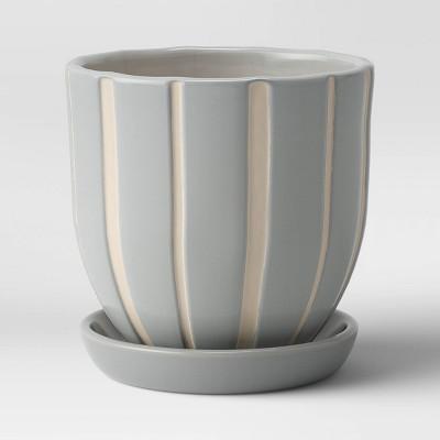 Earthenware Ceramic Grooves Planter - Threshold™