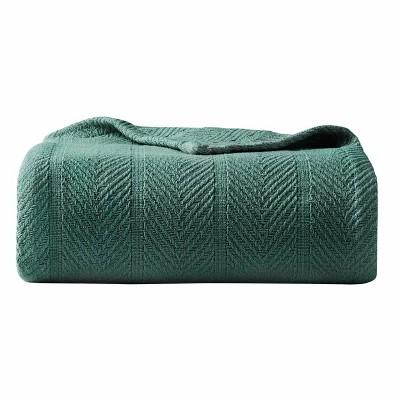 King Herringbone Bed Blanket Green - Eddie Bauer