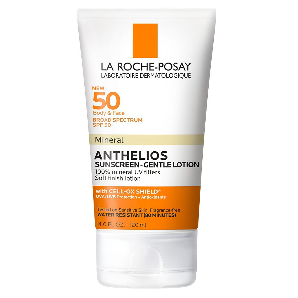 La Roche-Posay Anthelios Body and Face Sunscreen, Soft Finish Mineral Sunscreen Lotion SPF 50 contains 100percent of Mineral Filters. Mineral filters work by reflecting and scattering UV rays from skin. Mineral sunscreens are more likely to leave a white cast or a white residue compared to traditional sunscreens. Anthelios Mineral Gentle Lotion Sunscreen is formulated with clay for a soft dry touch finish and blends well into skin. How to Use: Apply sunscreen to skin and massage in circular motions. Blend well into skin until absorbed and no longer visible. Gender: unisex.