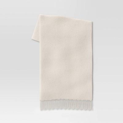 """60""""x50"""" Faux Mohair Throw Blanket Cream - Threshold™"""