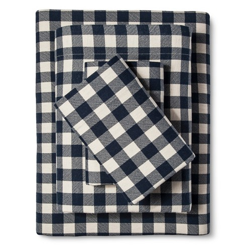 Preston Flannel Sheet Set (Queen) Dark Blue - Eddie Bauer® - image 1 of 1