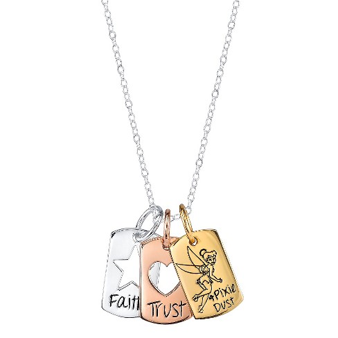 Disney® Sterling Silver 'Faith, Trust and Pixie Dust' Tinkerbell Pendant (18.69') - image 1 of 1
