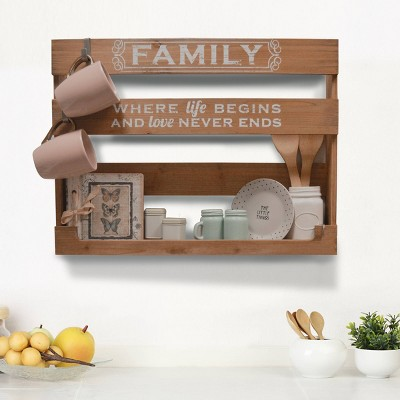 """18"""" x 24"""" Family Sentiment Multifunctional Shelf Storage Natural/White - New View"""