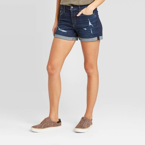 Women's High-Rise Distressed Jean Shorts - Universal Thread™ Dark Wash - image 1 of 3
