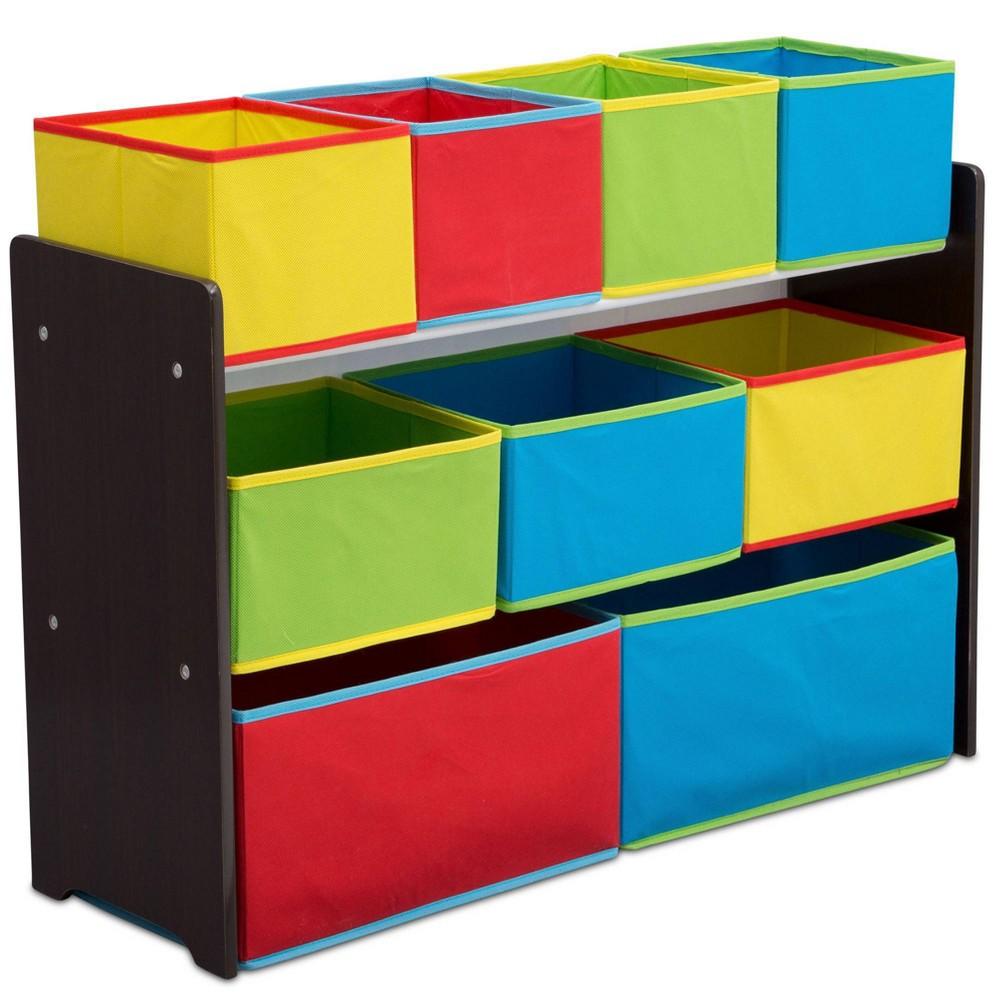Image of 9 Bin Deluxe Toy Organizer Dark Chocolate - Delta Children