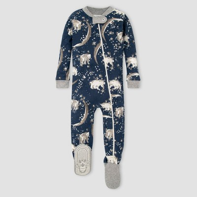 Burt's Bees Baby® Toddler Boys' Organic Cotton Moon Footed Pajama - Blue 6-9M