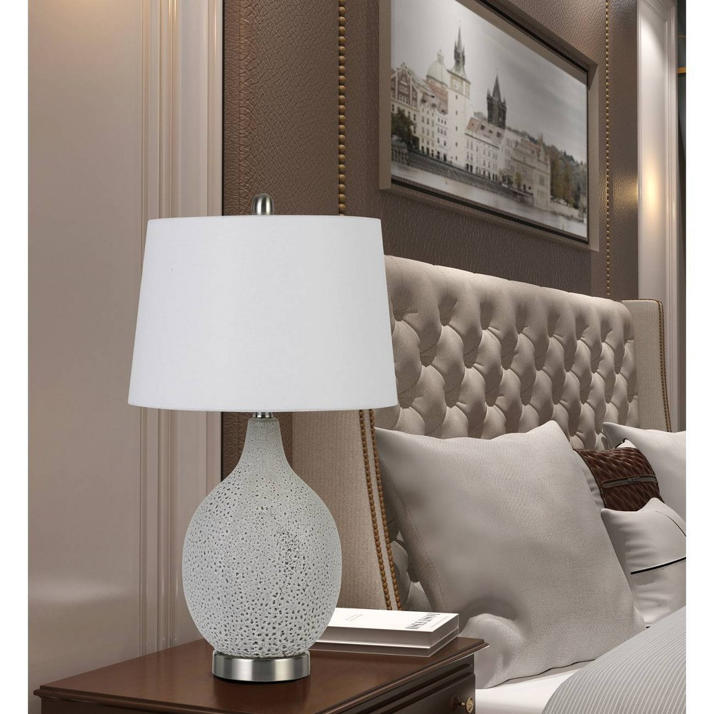 Image of 100W Edessa Ceramic Table Lamps Fossil White (Set Of 2) (Lamp Only) - Cal Lighting