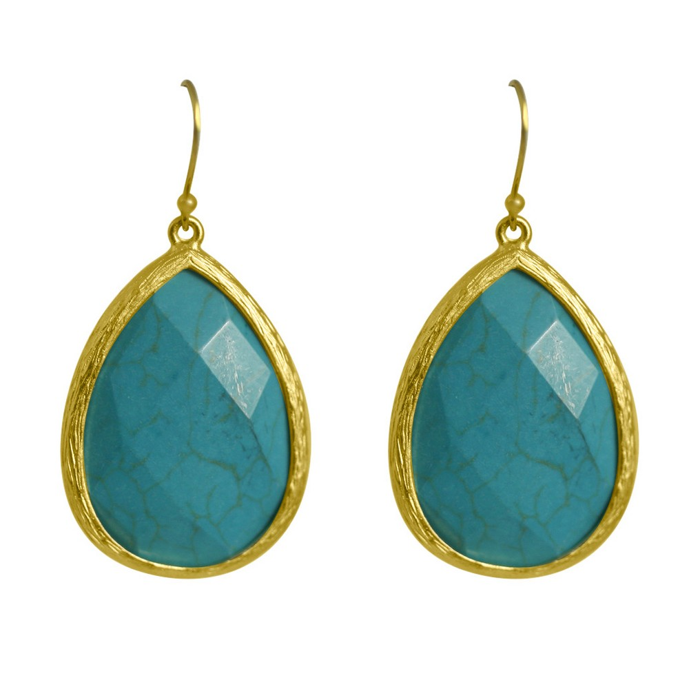 Zirconite Long Elongated Pear Shape Drop Earring - Turquoise, Women's, Size: Large