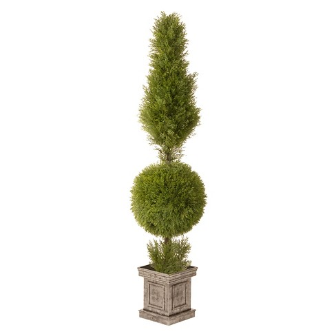 "Juniper Cone and Ball Topiary with Square Pot (60"") - image 1 of 2"