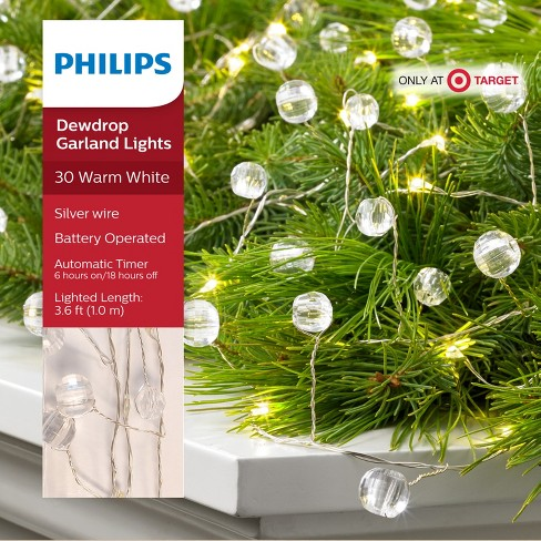 philips 30ct christmas led dewdrop garland lights clear jewels battery operated warm white sw target