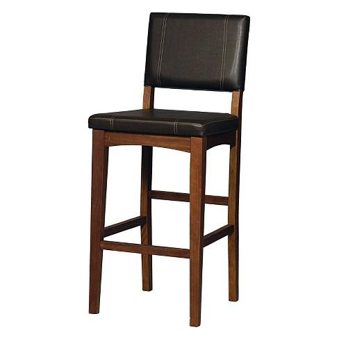 29 Milano Padded Bar Stool Upholstered Seat Back Brown Wood
