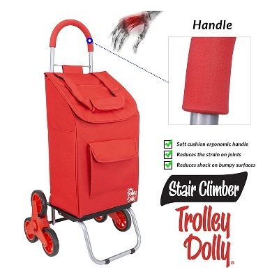 dbest products Stair Climber Foldable Collapsible Grocery Shopping Cart Utility Wagon Trolley Dolly with 6 Wheels, Red