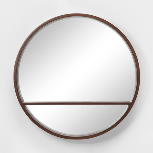 "24"" Walnut Round Barrel Decorative Wall Mirror with Shelf Brown - Project 62™ - image 1 of 3"