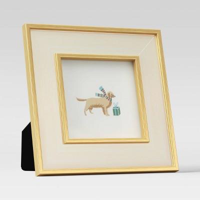 """4"""" x 4"""" Holiday Single Image Frame Gold/White - Threshold™"""