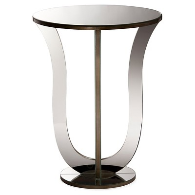 Kylie Modern And Contemporary Hollywood Regency Glamour Style Mirrored  Accent Side Table   Silver   Baxton Studio