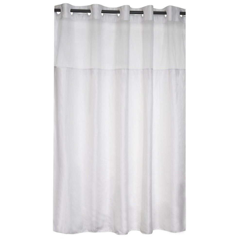 Hookless Herringbone Shower Curtain with Liner Bright White