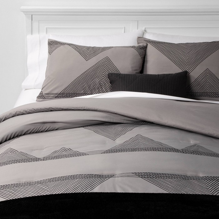 Triangle Lines Bed in a Bag Gray - Room Essentials™ - image 1 of 4