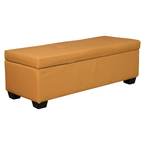 "Heirloom Tufted Padded Hinged Storage Ottoman-Leather Look Buckskin with Divider 48"" Rectangle - Sit N Sleep® - image 1 of 4"