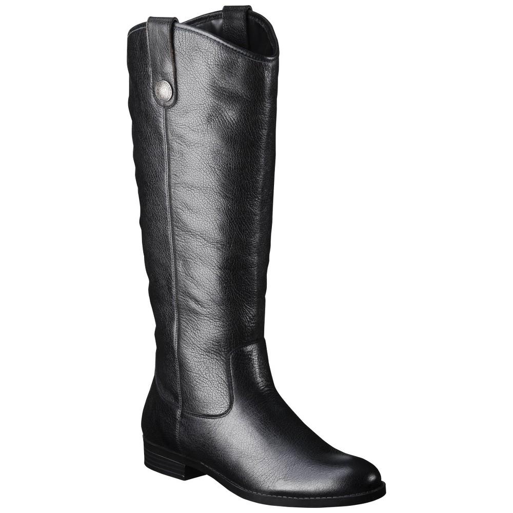 Women S Kasia Leather Riding Boots Black 10w Merona 8482
