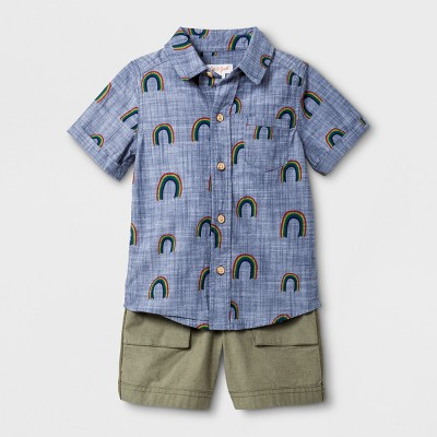 Toddler Boys' Short Sleeve Button-Down Shirt and Pull - On Shorts - Cat & Jack™ Rainbow 12M