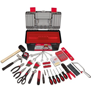 Apollo Tools 170pc Household Tool Kit with Tool Box DT7102 Red