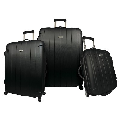 Traveler's Choice Rome 3pc Hardside Spinner/Rolling Luggage Set - Black