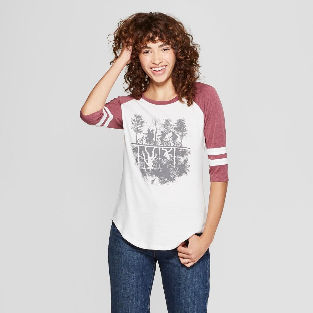 Women's Stranger Things 3/4 Sleeve Upside Down Raglan Graphic T-Shirt (Juniors') Burgundy XL, White