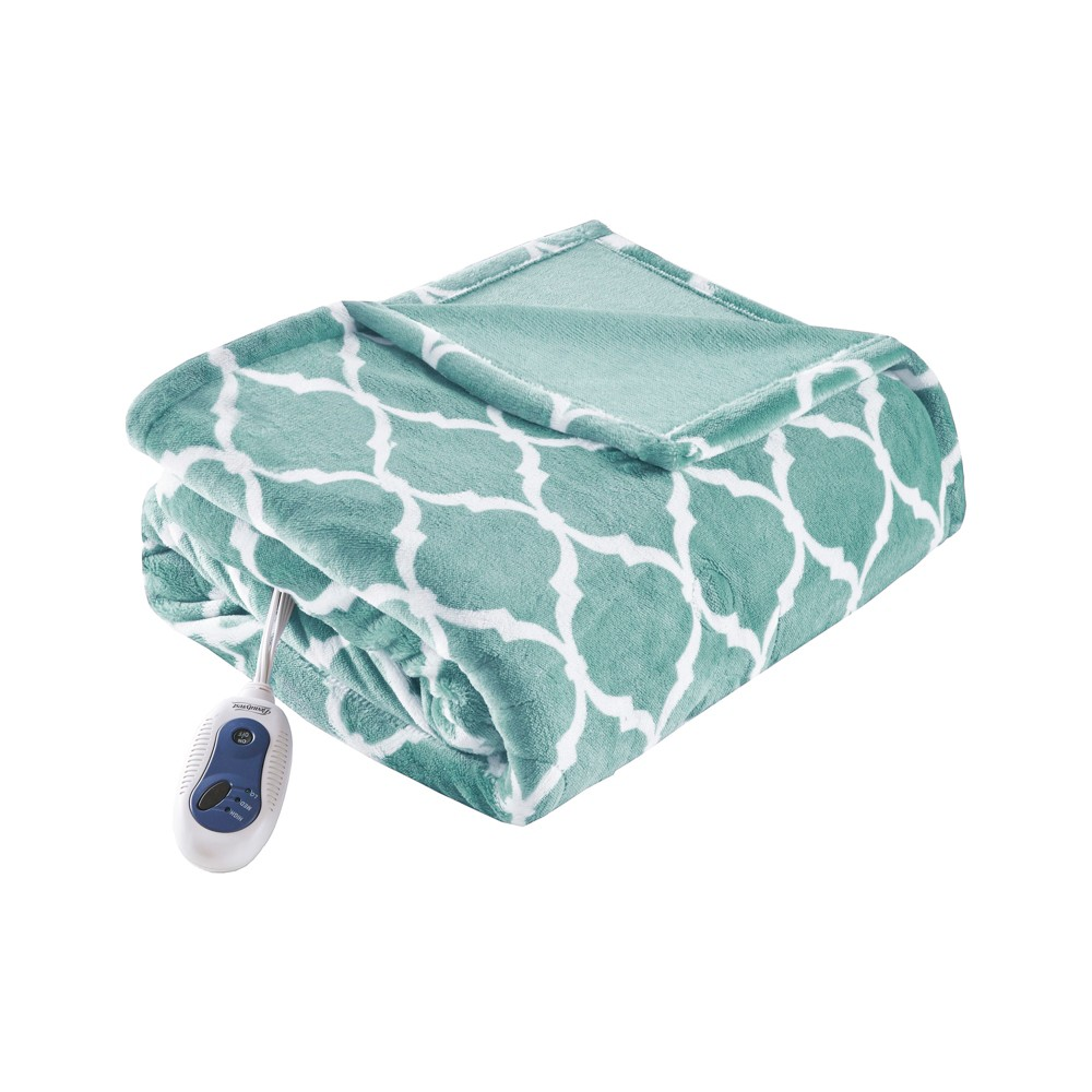 Electric Ogee Printed Oversized Throw 60x70 34 Aqua Beautyrest