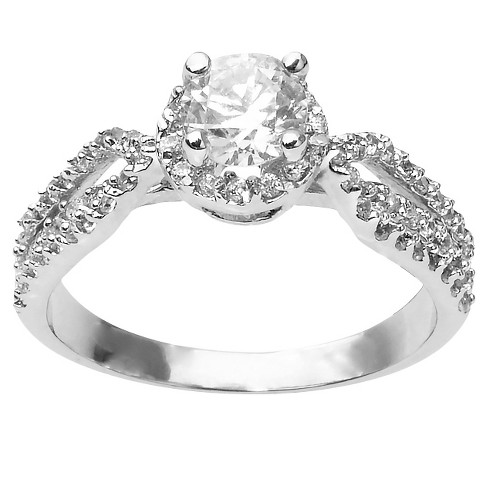 1 3/8 CT. T.W. Round Cut CZ Pave Set Halo Ring in Sterling Silver - Silver - image 1 of 2