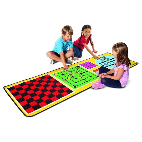Melissa & Doug 4-in-1 Game Rug (78.5 x 26.5 inches) - 4 Board Games, 36 Gamepc, Kids Unisex image number null