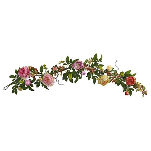 Mixed Peony and Berry Silk Garland - Berry (60'') - image 1 of 3
