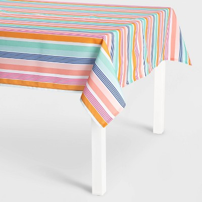 "84"" x 60"" Polyester Rainbow Stripe Tablecloth - Sun Squad™"
