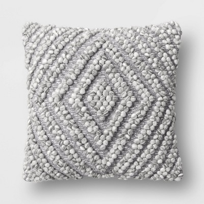 Chunky Diamond Patterned Square Throw Pillow Gray - Project 62™